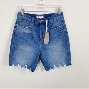 Madewell Hi Rise Mid Length Raw Hem Denim Shorts